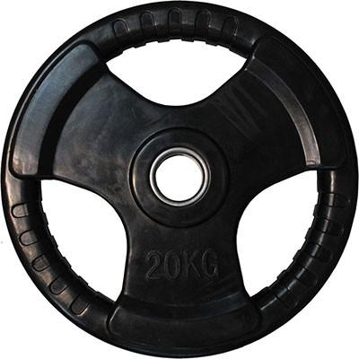 """Диск обрезиненный ZSO черный """"3 HANDLE"""" D-51, 20 кг"""